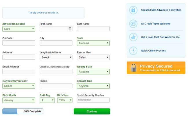 Cash Advance application form