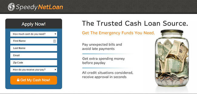 Speedy Net Loan Home Page