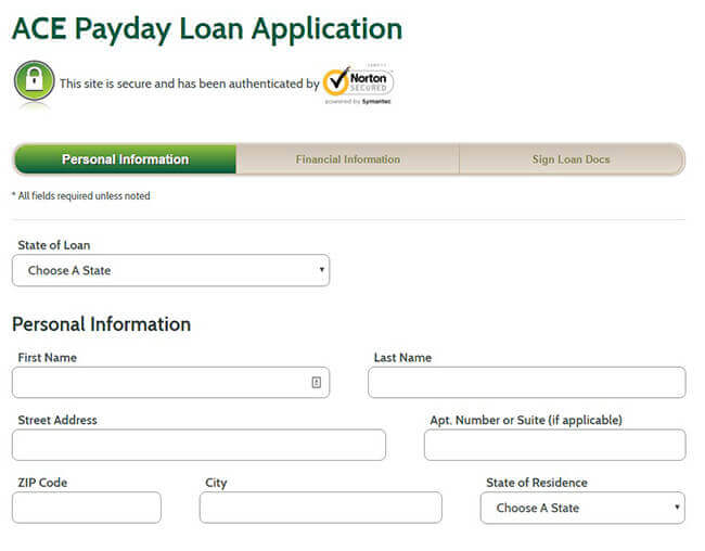 Ace payday loan application