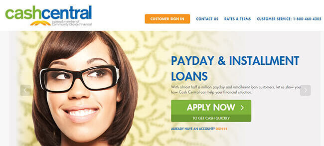 Cash Central Home Page
