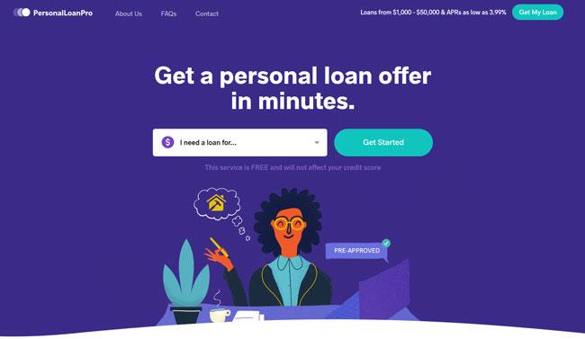PersonalLoanPro homepage printscreen
