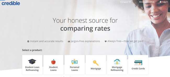 Credible printscreen homepage